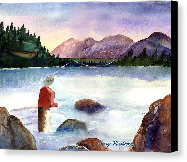 Fisherman At Lake Canvas Print featuring the print Fisherman In The Morning by George Markiewicz