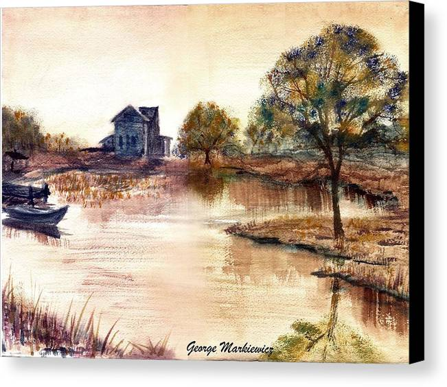 Water Landscape Canvas Print featuring the print Old Time Mural by George Markiewicz