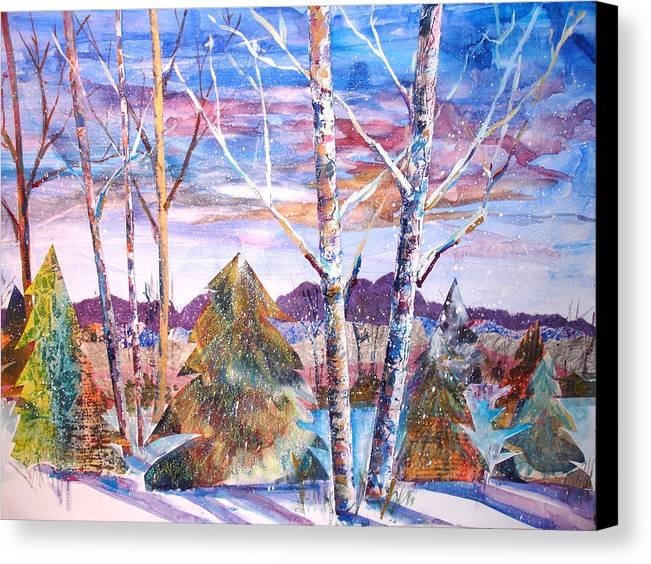 Landscape Canvas Print featuring the mixed media Winter Day by Joyce Kanyuk