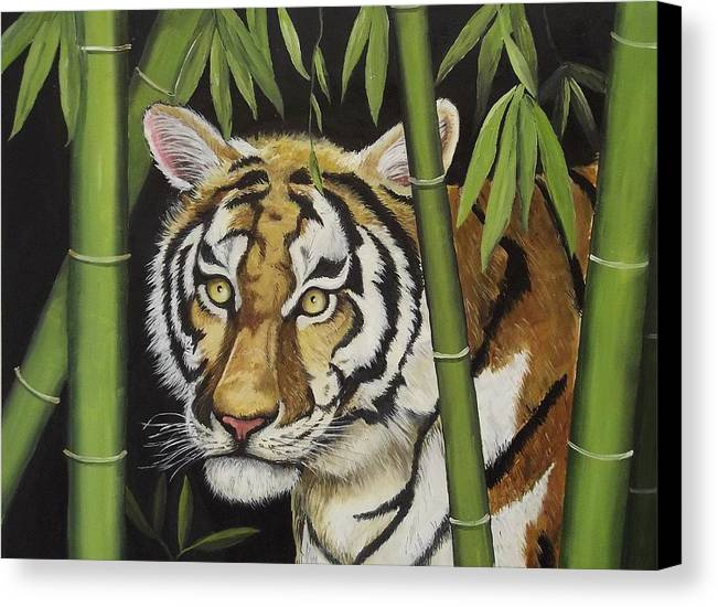 Tiger Canvas Print featuring the painting Hiding In The Bamboo by Wanda Dansereau