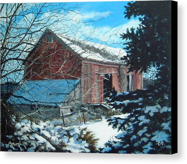 Barn Canvas Print featuring the painting Parker Road Barn by William Brody