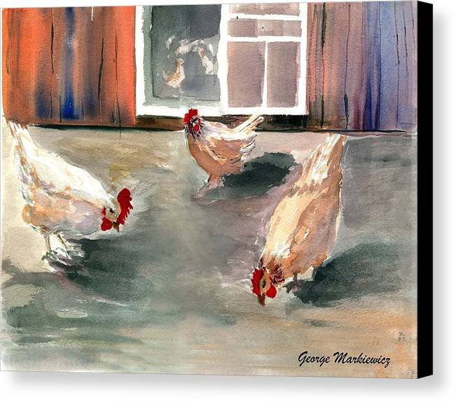 Farm Aniimals Canvas Print featuring the print Chickens In The Barnyard by George Markiewicz