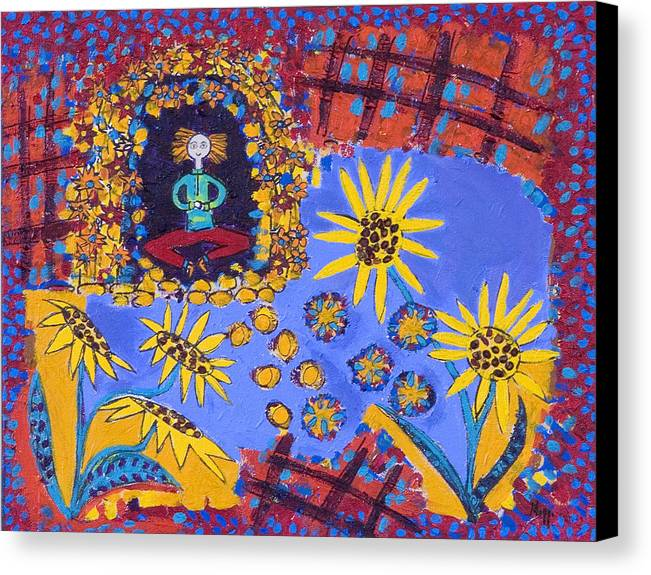 Sunflowers Canvas Print featuring the painting Meditating Master With Sunflowers by Maggis Art