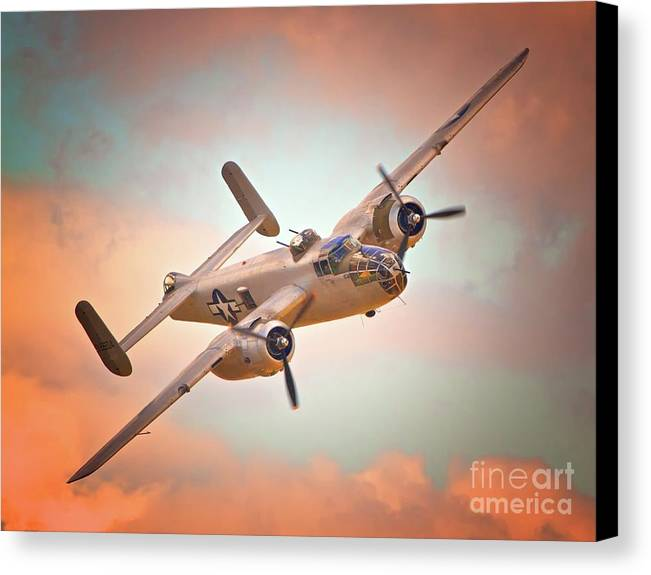 Aircraft Canvas Print featuring the photograph Pacific Princess North American B-25 Mitchell Across Rosy Skies by Gus McCrea