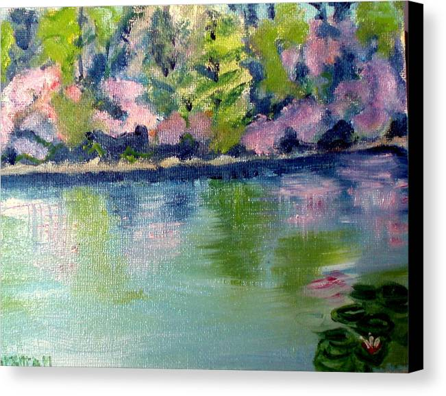 Water Canvas Print featuring the painting Pond 3 by Lia Marsman