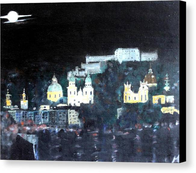 City Canvas Print featuring the painting Salzburg In Moonlight by Michela Akers