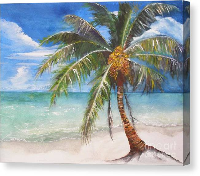 Palm Canvas Print featuring the painting Dessert Palm by Sibby S