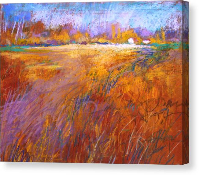 Landscape Canvas Print featuring the painting Across The Fields by Dale Witherow