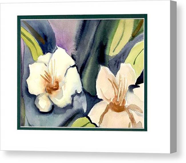 White Flowers Canvas Print featuring the painting White Flowers by Janet Doggett