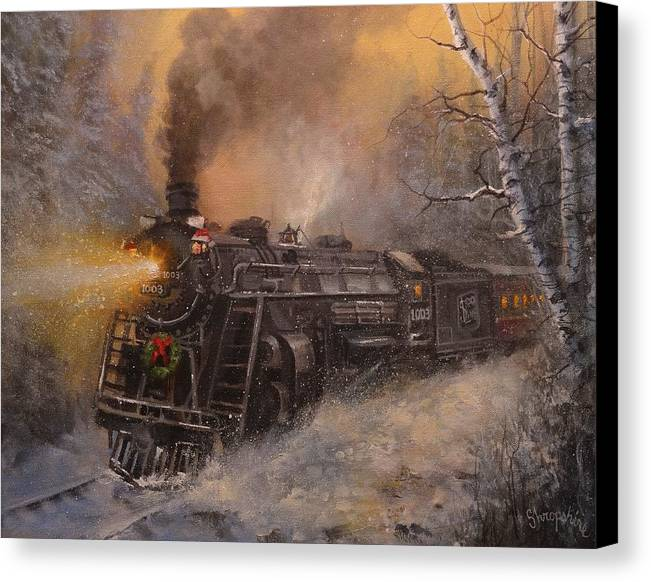 trains canvas print featuring the painting christmas train in wisconsin by tom shropshire