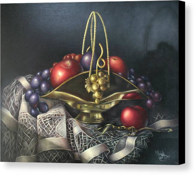 Still Life Canvas Print featuring the painting Brass Basket by Michelle Kerr