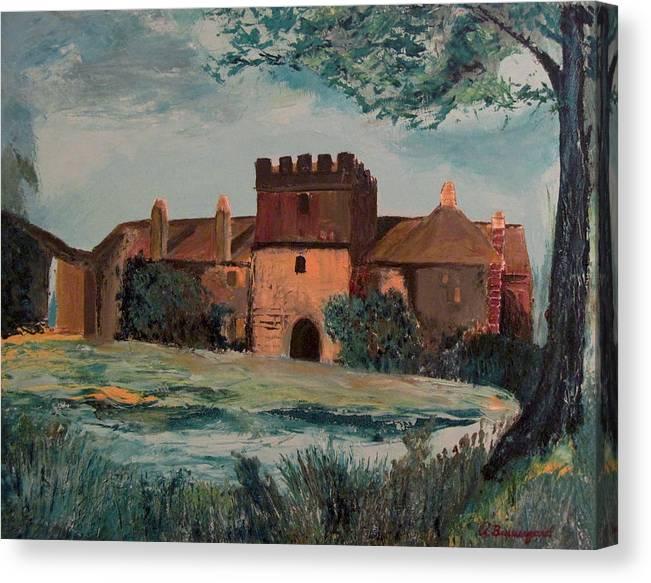 Cotehele Manor Canvas Print featuring the painting Cotehele Manor House by Richard Beauregard