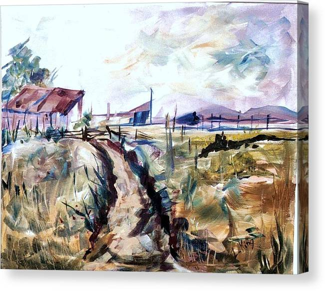 Farm Canvas Print featuring the painting Rains Comin by Linda King