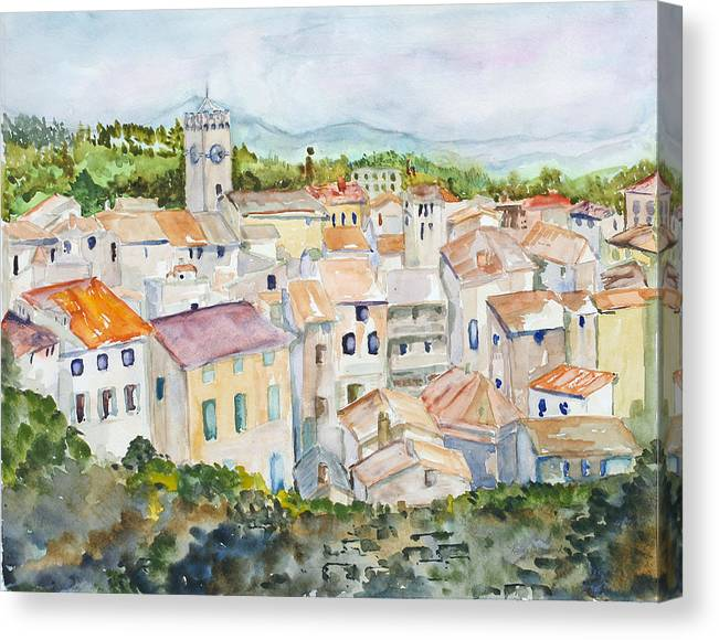 Landscape Canvas Print featuring the painting Rooftops Of Viviers by Nancy Brennand