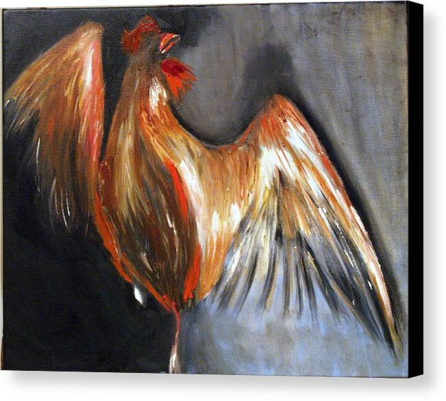 Rooster Chicken Red Canvas Print featuring the painting El Gallo by Niki Sands