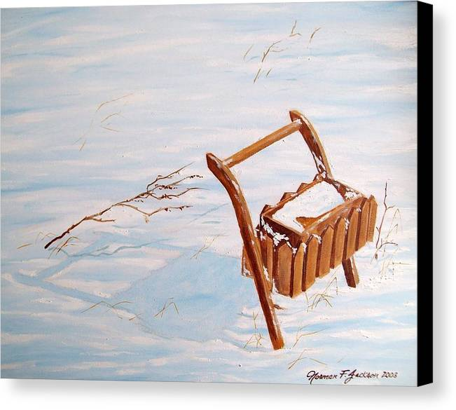Snow Canvas Print featuring the painting Flower Box by Norman F Jackson