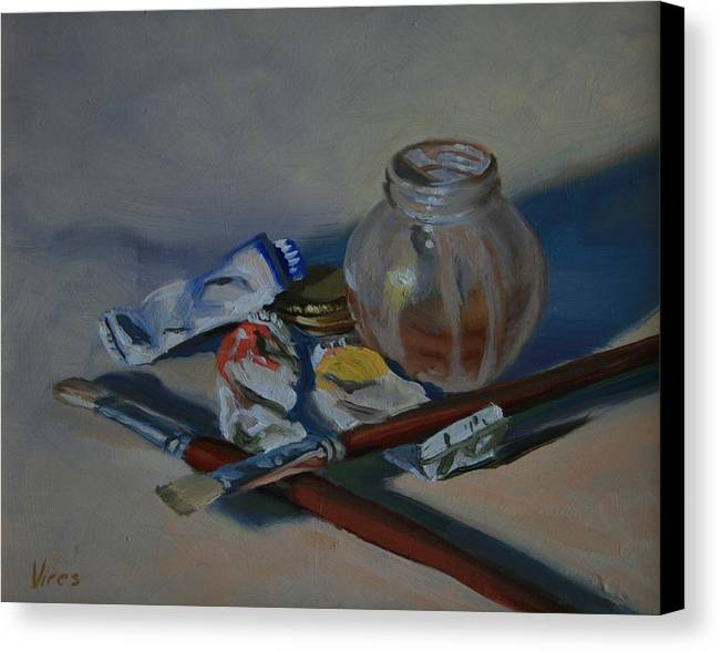 Still Life Canvas Print featuring the painting Limited Palette by Michael Vires