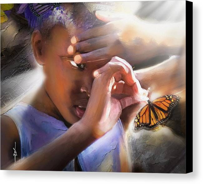 Butterfly Canvas Print featuring the painting My Little Butterfly by Bob Salo