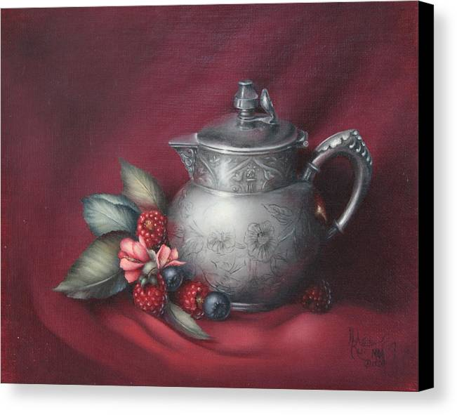 Still Life Canvas Print featuring the painting Raspberries by Michelle Kerr