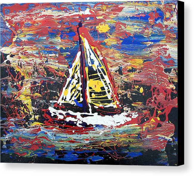 Sailboat Canvas Print featuring the painting Sunset On The Lake by J R Seymour