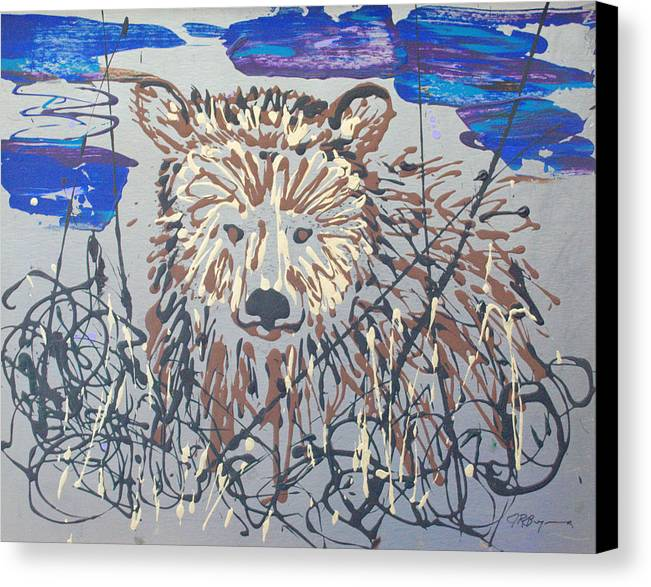 Bear In Bushes Canvas Print featuring the painting The Kodiak by J R Seymour