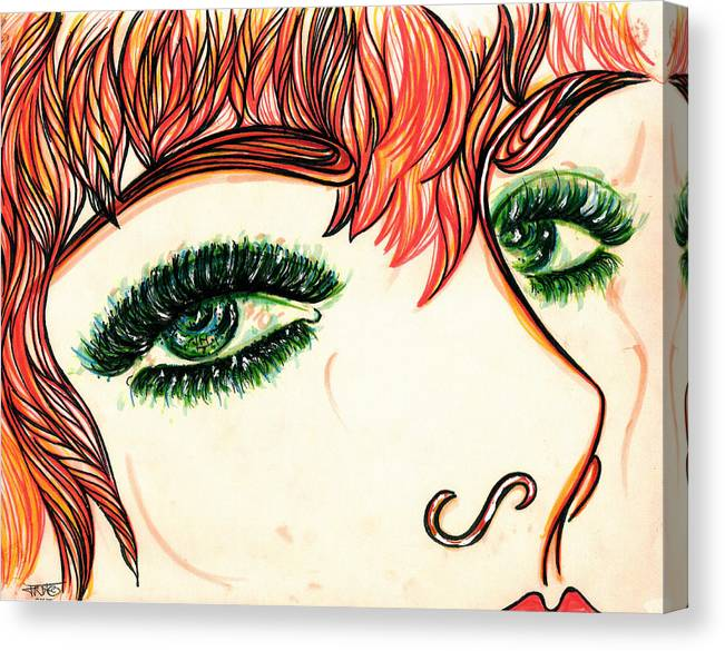 The Garden Of Eden Collection Canvas Print featuring the drawing Look At Me by Judith Herbert