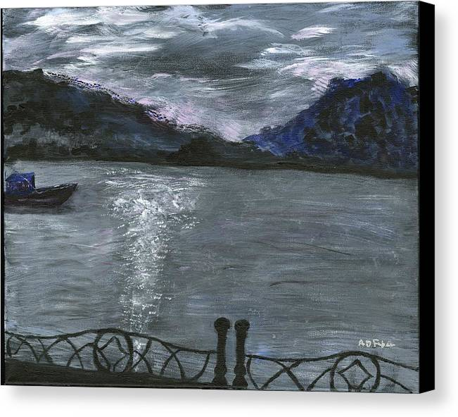 Water Canvas Print featuring the painting Pier View by Alice Faber