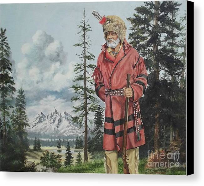 Landscape Canvas Print featuring the painting Terry The Mountain Man by Wanda Dansereau