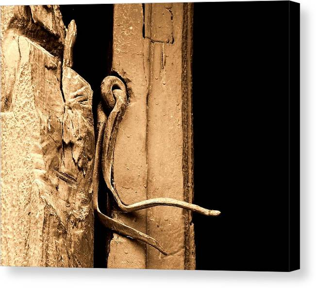 Latches Canvas Print featuring the photograph Twisted In Time.. by Al Swasey
