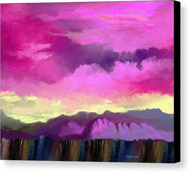 Mountains Western New Mexico Arizona Southwestern Sky Rocks Canvas Print featuring the painting Morning At The Rim Of The Canyon by Donn Kay