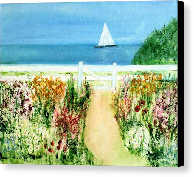 Landscape Canvas Print featuring the painting Celia Thaxter by Michela Akers