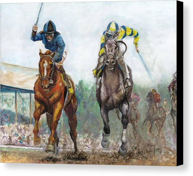 Curlin Canvas Print featuring the painting Curlin - Comin Home At The Preakness by Leisa Temple