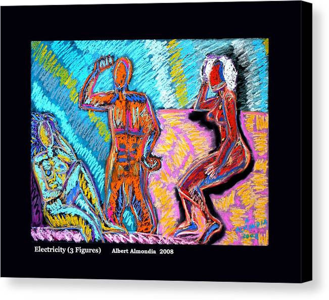 Figurative Canvas Print featuring the painting Electricity - 3 Figures by Albert Almondia