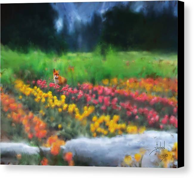 Fox Canvas Print featuring the digital art Fox Watching The Tulips by Stephen Lucas