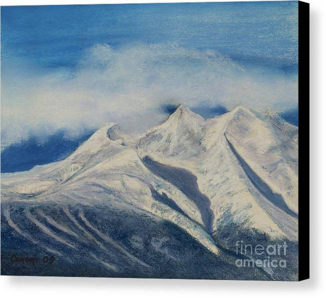 Mountain Canvas Print featuring the painting Storm Clouds Over Winter Mountain Blues by Stanza Widen