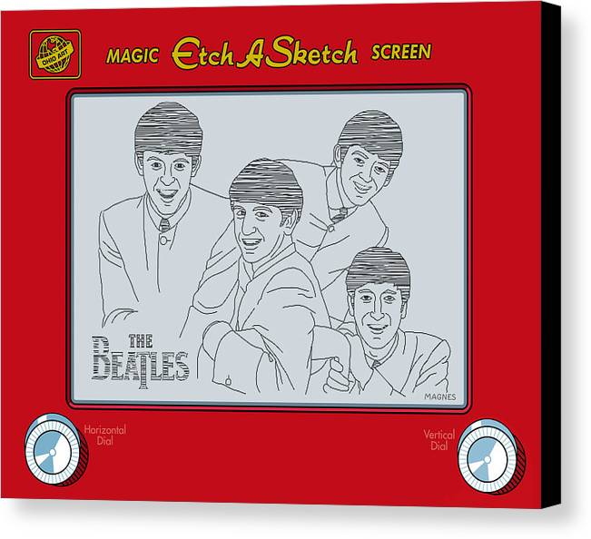 Beatles Canvas Print featuring the digital art The Beatles by Ron Magnes