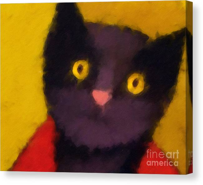 Cats Canvas Print featuring the painting Blacky by Lutz Baar