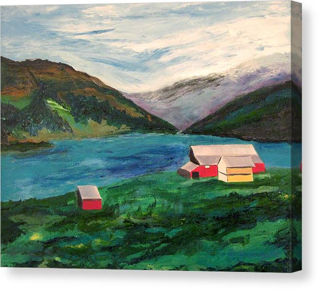 Farm At The Fjord Canvas Print featuring the painting Farm At The Fjord by Richard Beauregard