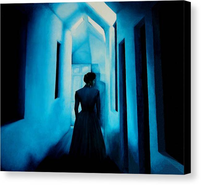 Oil Painting. Lady.blue Lady. Blue . Surreal Impressionism Canvas Print featuring the painting Blue Lady In The Hall by Ivan Rijhoff