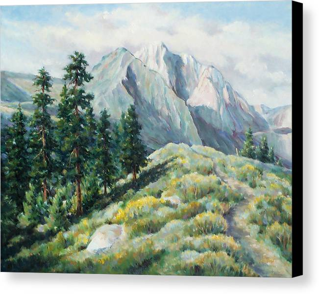 Landscape Canvas Print featuring the painting Convict Lake Guardians by Don Trout