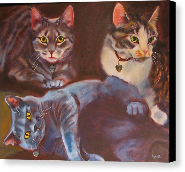 Cat Painting Canvas Print featuring the painting Three For The Money by Kaytee Esser