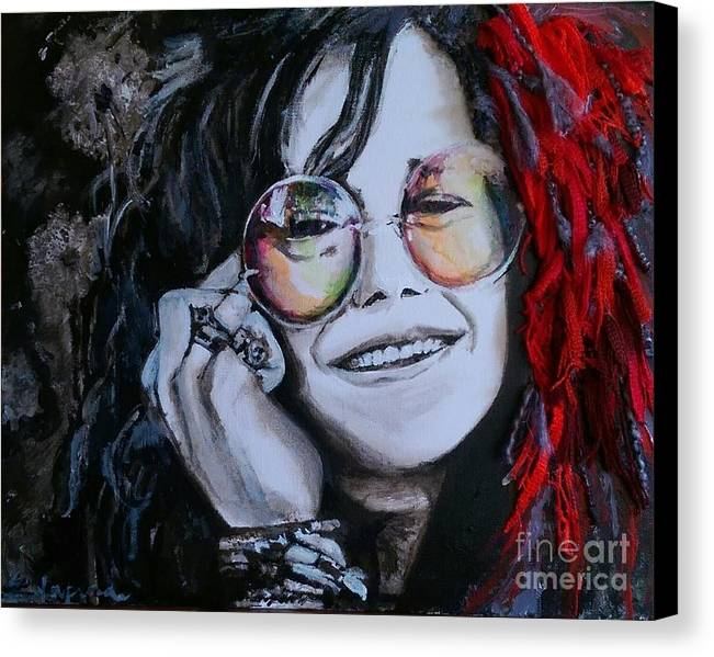 Yarn Canvas Print featuring the painting True Colors, Janis Joplin by Eric Laprade
