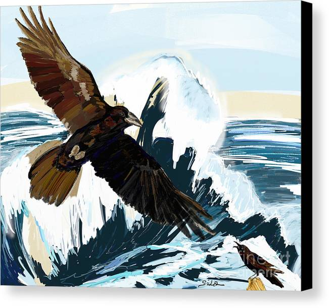 Ravens Canvas Print featuring the painting Ravens And The Stormy Sea by Lidija Ivanek - SiLa