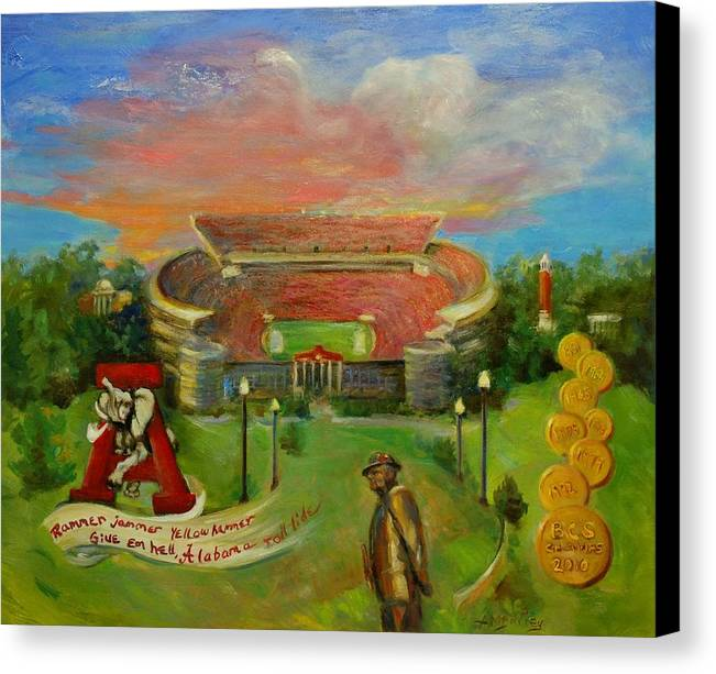 Roll Tide Canvas Print featuring the painting Roll Tide by Ann Bailey