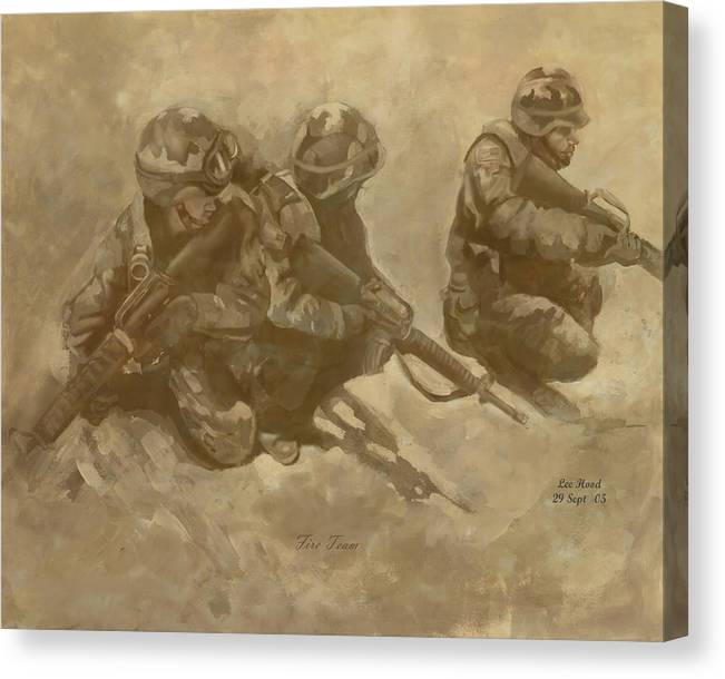 Fire Team Canvas Print featuring the mixed media Fire Team by Lee Hood