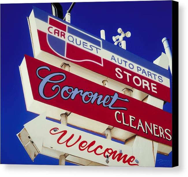 Americana Canvas Print featuring the painting Coronet Cleaners by Randy Ford