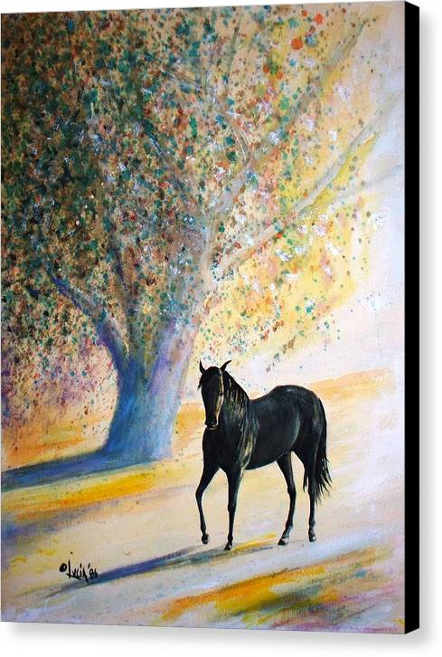 Watercolor. Horses. Canvas Print featuring the print Champ by Carl Lucia