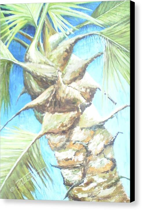Palm Canvas Print featuring the painting Into The Palm by Dennis Vebert