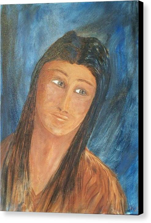 Portrait Canvas Print featuring the painting Sacagawea by Larry Verch