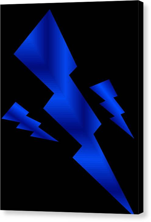 Blue Bolts Canvas Print featuring the digital art Blue Bolts by Gayle Price Thomas